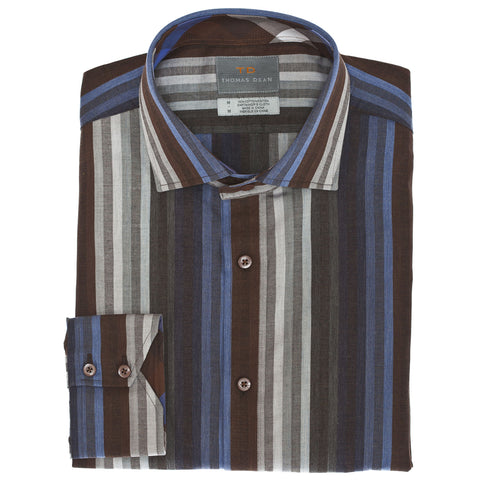 Big & Tall Brown Multi-Stripe Sport Shirt - Thomas Dean & Co