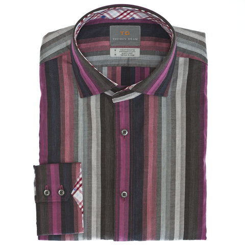 Pink Multi Stripe Button Down Sport Shirt