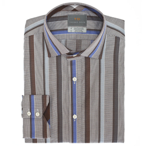 Big & Tall Brown Stripe Button Down Sport Shirt - Thomas Dean & Co