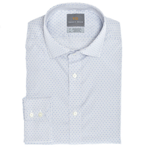 Light Grey Dot Print Button Down Sport Shirt