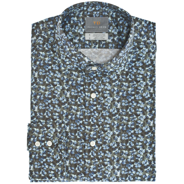 Green Leaf Print Button Down Sport Shirt