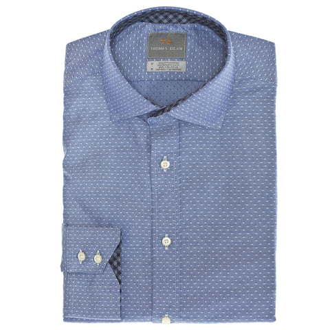 Blue Dot Print Button Down Sport Shirt - Thomas Dean & Co