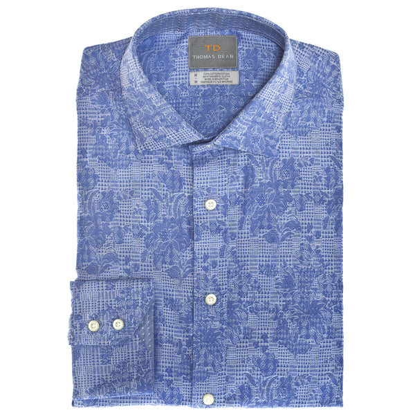 Blue Check Button Down Sport Shirt