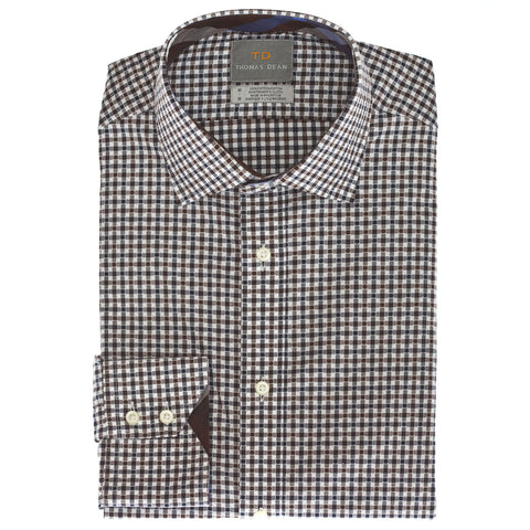 Big & Tall Brown Mini Check Button Down Sport Shirt - Thomas Dean & Co