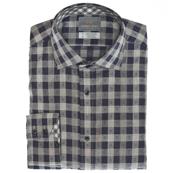 Navy Gingham Button Down Sport Shirt