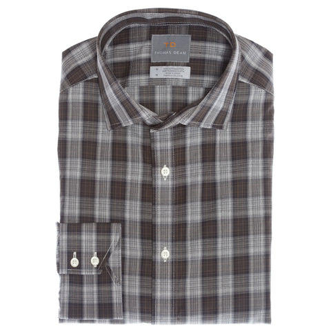 Grey Plaid Button Down Sport Shirt - Thomas Dean & Co