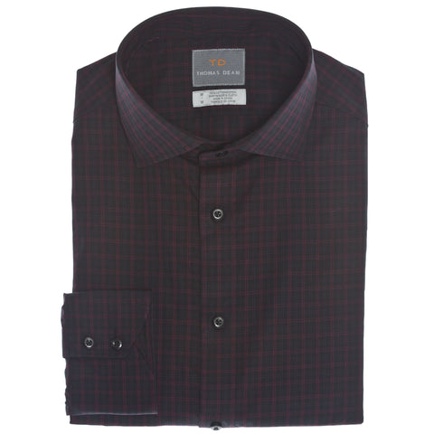 Charcoal Plaid Button Down Sport Shirt - Thomas Dean & Co