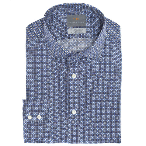 Blue Circle Print Button Down Sport Shirt - Thomas Dean & Co