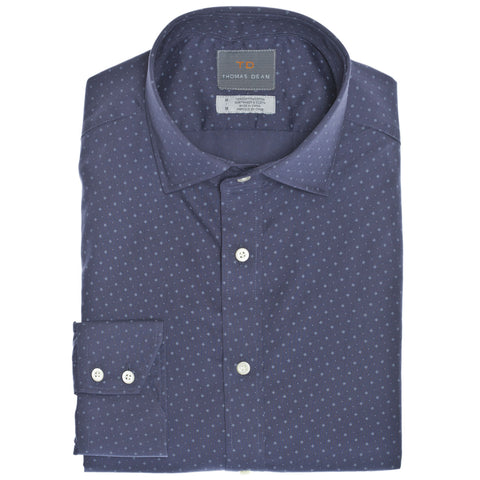 Denim Diamond Print Button Down Sport Shirt - Thomas Dean & Co
