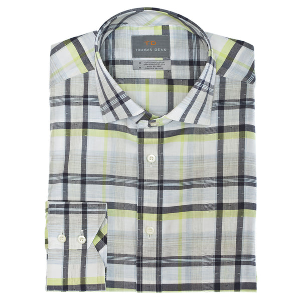 Blue Large Check Button Down Sport Shirt