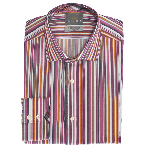 Wine Multi Stripe Button Down Sport Shirt - Thomas Dean & Co