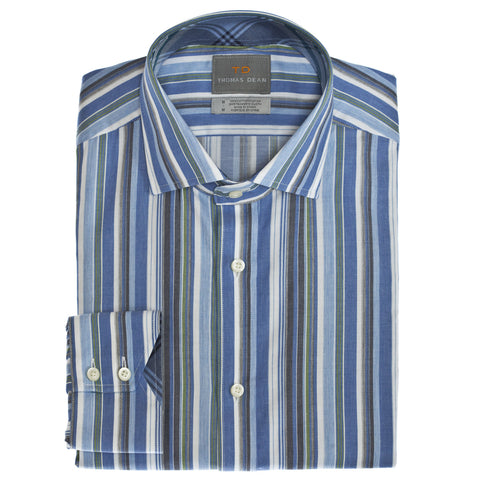 Big & Tall Blue Multi Stripe Button Down Sport Shirt - Thomas Dean & Co