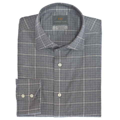 Navy Windowpane Button Down Sport Shirt