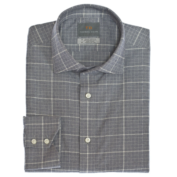 Navy Windowpane Button Down Sport Shirt - Thomas Dean & Co