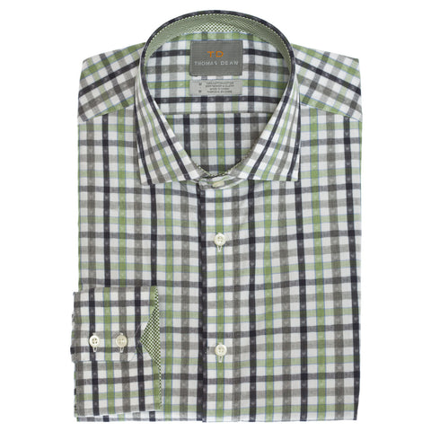 Green Shadow Check Button Down Sport Shirt - Thomas Dean & Co