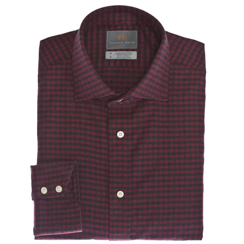 Dark Pink Plaid Button Down Sport Shirt