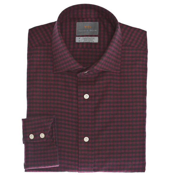 Dark Pink Plaid Button Down Sport Shirt - Thomas Dean & Co