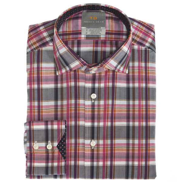 Wine Plaid Button Down Sport Shirt - Thomas Dean & Co