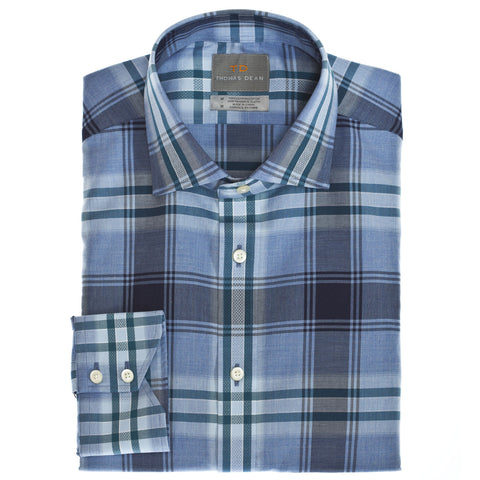 Big & Tall Blue Plaid Button Down Sport Shirt - Thomas Dean & Co