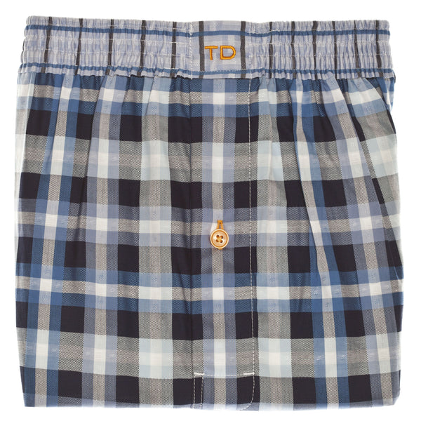 Blue Check Boxer Short - Thomas Dean & Co