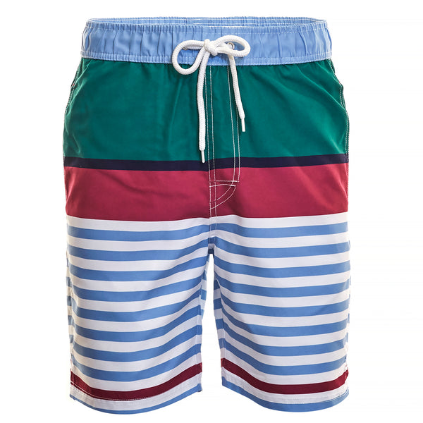 Green Horizonal Stripe Board Short - Thomas Dean & Co