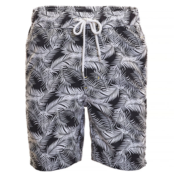 Black Leaf Print Board Short - Thomas Dean & Co