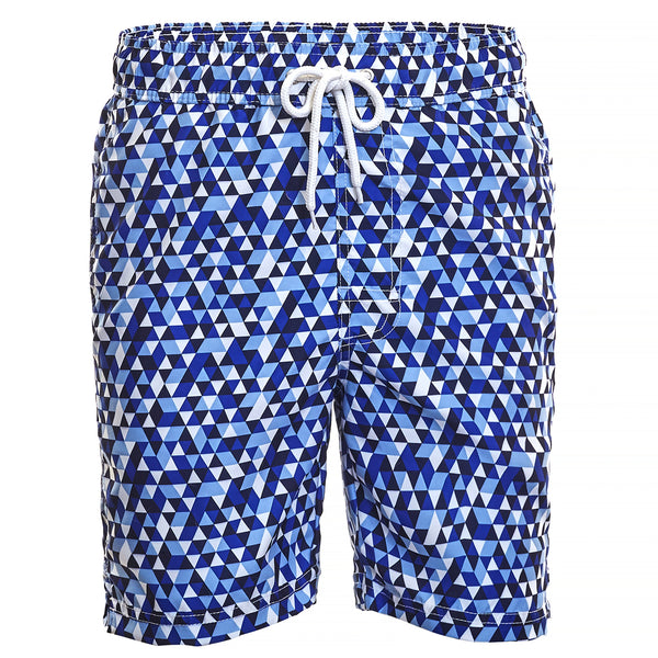 Blue Geo Print Board Short