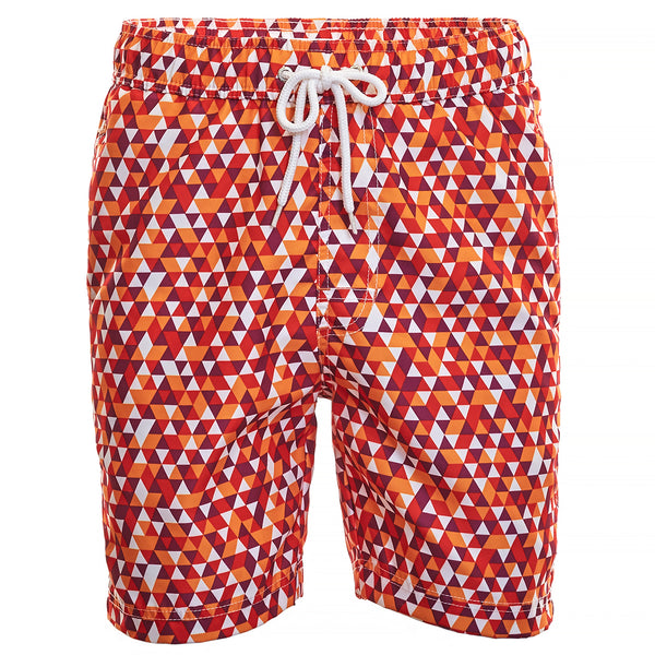 Orange Geo Print Board Short
