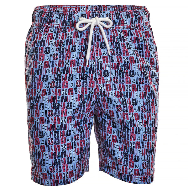 Blue Sandal Print Board Short
