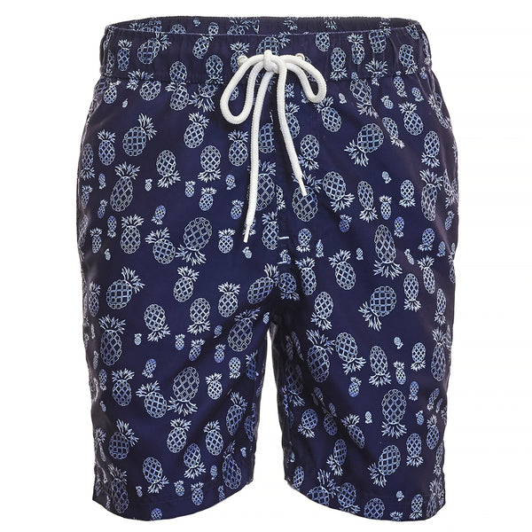 Navy Pineapple Print Board Short