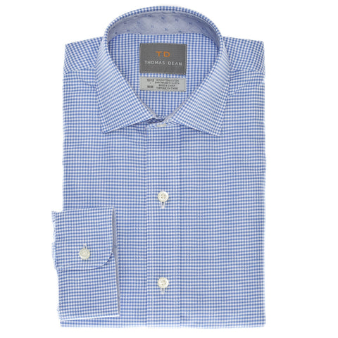 Big Boys Blue Mini Check Button Down Shirt