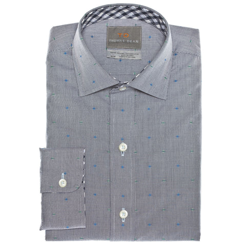 Big Boys Blue Solid With Fil Coupe Button Down Sport Shirt - Thomas Dean & Co