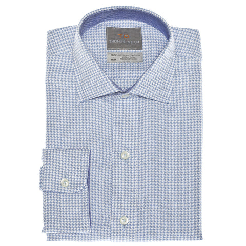 Small Boys Blue Dobby Solid Button Down Sport Shirt