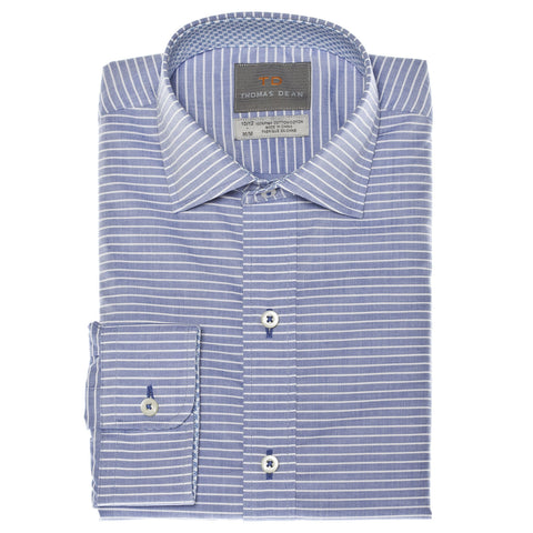 Big Boys Blue Horizontal Stripe Button Down Sport Shirt - Thomas Dean & Co