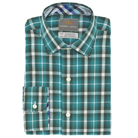 Big Boys Green Check Button Down Sport Shirt - Thomas Dean & Co