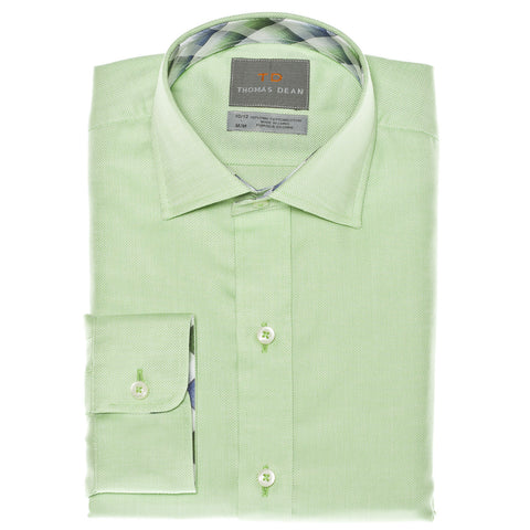 Big Boys Green Textured Solid Button Down Sport Shirt - Thomas Dean & Co