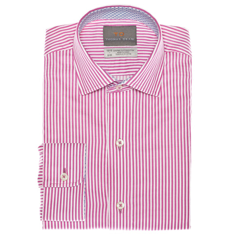 Big Boys Pink Twill Stripe Button Down Sport Shirt - Thomas Dean & Co