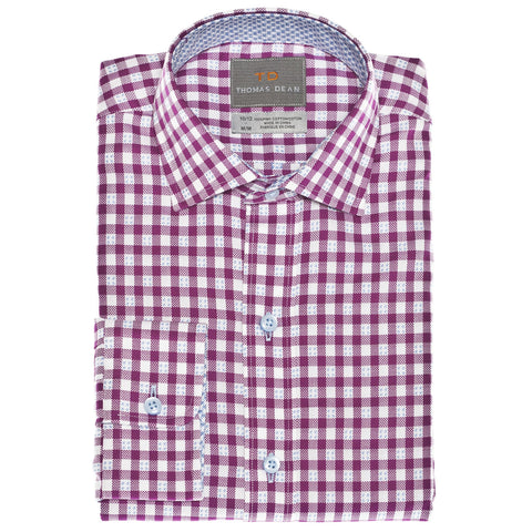 Big Boys Purple Check With Fil Coupe Button Down Sport Shirt - Thomas Dean & Co