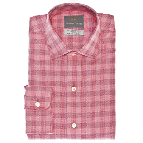 Big Boys Red Textured Check Button Down Sport Shirt