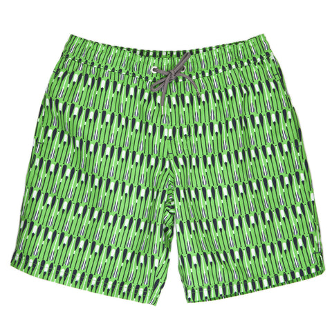 Boys Green Oar Print Swim Trunk - Thomas Dean & Co