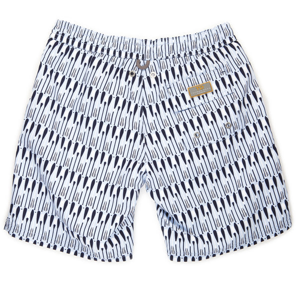 Boys Light Blue Oar Print Swim Trunk - Thomas Dean & Co
