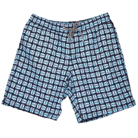 Boys Navy Sandal Print Swim Trunk - Thomas Dean & Co