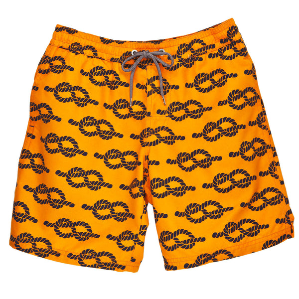 Boys Orange Rope Print Swim Trunk - Thomas Dean & Co