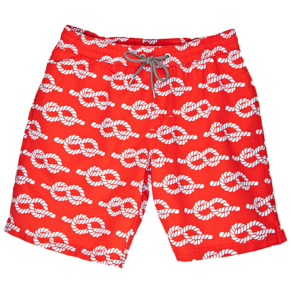 Boys Red Rope Print Swim Trunk - Thomas Dean & Co