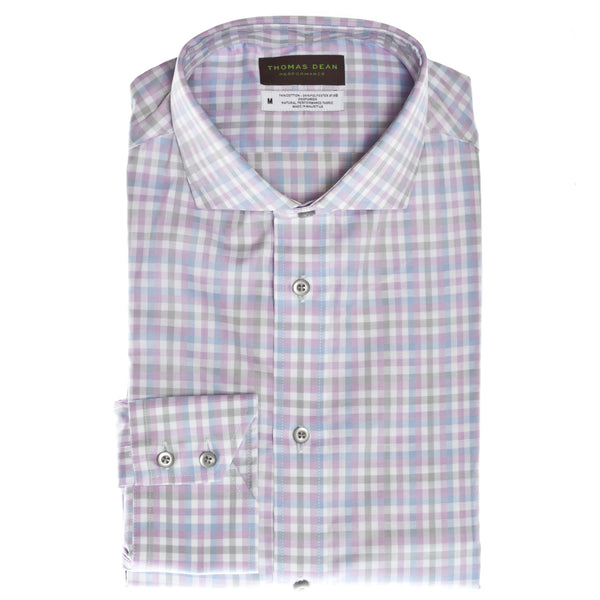 Pink Check Performance Sport Shirt - Thomas Dean & Co