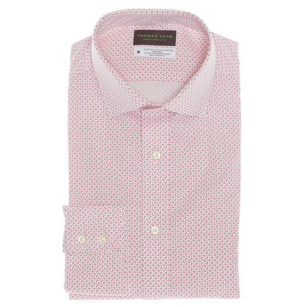 Red Print Performance Sport Shirt - Thomas Dean & Co