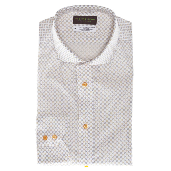 Orange Print Performance Sport Shirt - Thomas Dean & Co