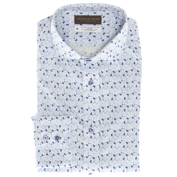 Purple Print Performance Sport Shirt - Thomas Dean & Co