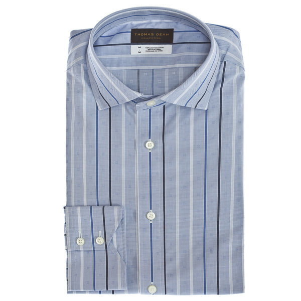 TD Collection Blue Stripe Button Down Sport Shirt