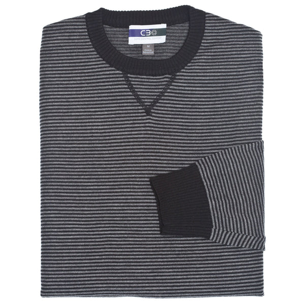 C3 Black Crew Neck Stripe Sweater - Thomas Dean & Co